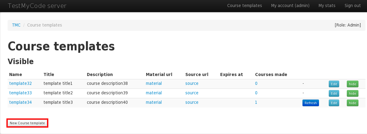 Tmc webapp user manual admin this page lists all course templates in the database with their relevant information by clicking new course template you can create a new template maxwellsz